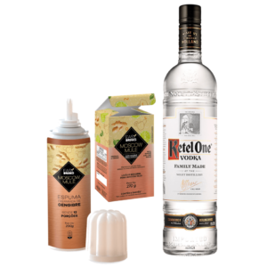 Moscow Mule Ketel One In House – Ketel One 1L, Espuma de Gengibre Easy Drink 200g, Moscow Mule Easy Drink 270g